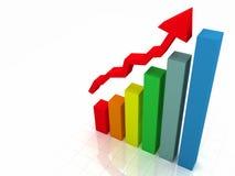 gráfico de barra 3D w/Arrow Imagem de Stock Royalty Free