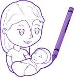 Gráfico de creyón de una madre con el niño Fotos de archivo