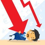 Gráfico de la flecha de Fall Down Red del hombre de negocios financiero Imagen de archivo libre de regalías