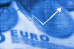 Gráfico de la flecha que sube y dinero en circulación euro Imágenes de archivo libres de regalías