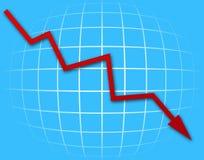 Gráfico de la flecha que va abajo Foto de archivo libre de regalías