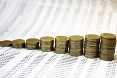 Gráfico de las monedas Fotos de archivo