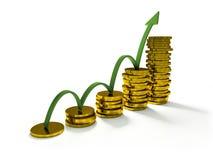 Gráfico de negócio com seta e moedas que mostram lucros e ganhos Fotografia de Stock Royalty Free
