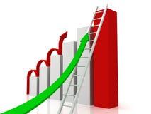 Gráfico de negócio do sucesso com setas e escada Foto de Stock Royalty Free