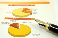 Gráfico de sectores con la pluma Imagen de archivo libre de regalías