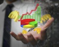 Gráfico do crescimento do negócio de exibição da mão do homem de negócios com euro- sinais Imagens de Stock Royalty Free