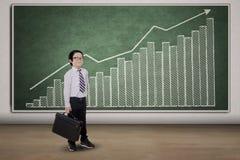 Gráfico do homem de negócios pequeno e do salário Fotos de Stock