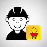 Gráfico do tráfego do sinal do carrinho de mão do trabalhador da construção Fotografia de Stock