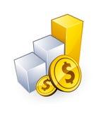 Gráfico e dólares Imagens de Stock Royalty Free