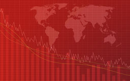 Gráfico que va abajo en un fondo rojo Foto de archivo libre de regalías