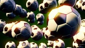 Gráficos abstratos do movimento do cgi com as bolas de futebol do voo filme