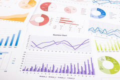 Gráficos, análise de dados, pesquisa de mercado e anual coloridos com referência a Foto de Stock Royalty Free