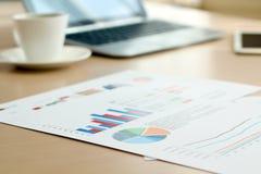 Gráficos, cartas, pesquisa de mercado e fundo coloridos do informe anual do negócio Fotografia de Stock Royalty Free