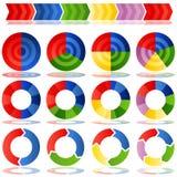 Gráficos circulares de proceso de la blanco Fotos de archivo libres de regalías