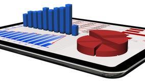 Gráficos e carta no PC da tabuleta - conceito da estatística de negócio Foto de Stock