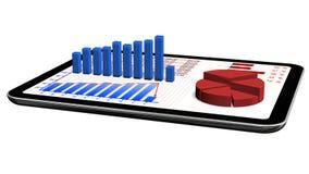 Gráficos e carta no PC da tabuleta - conceito da estatística de negócio Fotos de Stock Royalty Free