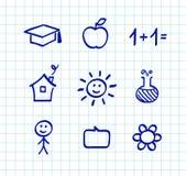 Gráficos e iconos del doodle de la escuela Fotos de archivo libres de regalías