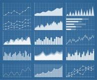 Gráficos y cartas de negocio fijados Análisis y gestión de activos financieros Información sobre las cartas, datos estadísticos Fotos de archivo