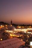 GrFna vierkant van Djemaa in Marrakech bij zonsondergang bij Royalty-vrije Stock Afbeeldingen