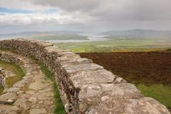 Grianan of Aileach or Greenan Fort. Inishowen. county Donegal. Ireland. View from the Stone ringfort of Grianan of Aileach or Greenan Fort. Inishowen. county Stock Photo