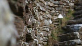 Grianan von Aileach-Fort-Steinwänden u. Schritten stockfotos