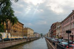 Griboedov Canal. RUSSIA, SAINT PETERSBURG - AUGUST 18, 2017: View from the Bank Bridge on the embankment of the Griboedov Canal Stock Photos