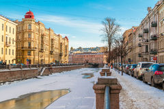 Griboedov Canal in winter scene Royalty Free Stock Photo
