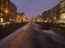 Griboedov kanal i vinter, St Petersburg Royaltyfria Foton