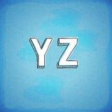 Gribouillez la police tirée par la main Y-Z de style Images libres de droits