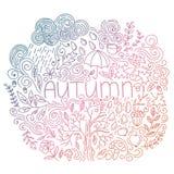 Gribouillez la carte de chute avec l'automne de mot, les éléments floraux, le nuage de pluie et les baisses, chute d'arbre, gland illustration stock