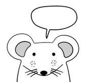 Gribouillez la souris de croquis avec l'illustration de vecteur de nuage de causerie cartoon Bulle de souris et de parole blanc A Illustration de Vecteur