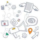 Gribouillez le concept de style de conception du marketing satisfait, du marketing et de partager du contenu numérique Ligne mode Photos libres de droits