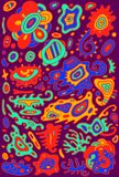 Gribouillez le fond coloré psychédélique avec l'Orn surréaliste abstrait Photo stock