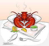 Gribouillez le homard sur la vue de face de table, vecteur illustration stock