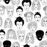 Gribouillez le modèle sans couture des visages de différentes nationalités illustration libre de droits