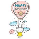 Gribouillez le vecteur de dessin du lapin mignon flottant sur l'air par le ballon avec le mot de joyeux anniversaire Photos stock