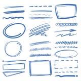Gribouillez les éléments de vecteur de barre de mise en valeur, cercles de croquis, tirés par la main soulignent, crayonnent des  illustration de vecteur