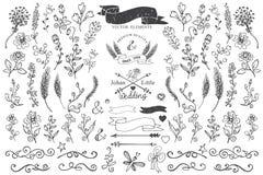 Gribouillez les frontières, les rubans, élément floral de décor pour Image libre de droits