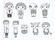 Gribouillez les icônes de famille, ligne drawin d'illustrateur d'outils Photographie stock libre de droits