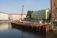 Griboyedov运河的检修 圣彼德堡 库存照片