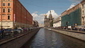 The Griboyedov Canal. Cathedral of the Resurrection of Christ in St. Petersburg. stock footage