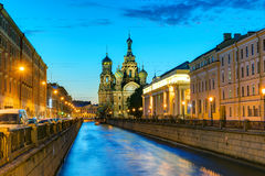 Griboyedov Canal with Church of the Savior on Blood in St. Peter Stock Photo