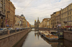 Griboyedov canal with Church of the Savior on Spilled Blood.Saint Petersburg,Russia. Royalty Free Stock Images