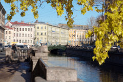 Griboyedov Canal and Demidov bridge in St. Petersburg, Russia Stock Photography
