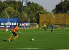 Grichenko Tatiana (16), goalkeeper of Kubanochka team Royalty Free Stock Photo