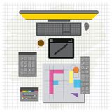 Grid background with design environment with color palette and tool box with desktop computer. Vector illustration stock illustration