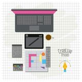 Grid background with design environment with color palette and tool box with laptop computer creative process. Vector illustration vector illustration