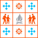 Grid background image. Background image used for modern art. it shows people, fire, and some basic patterns Stock Images