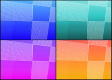 Grid backgrounds. Set of abstract gradient backgrounds with lines and grid pattern in four different colours Royalty Free Stock Photography