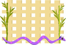 Grid with Bamboo and Purple Snake Stock Photography